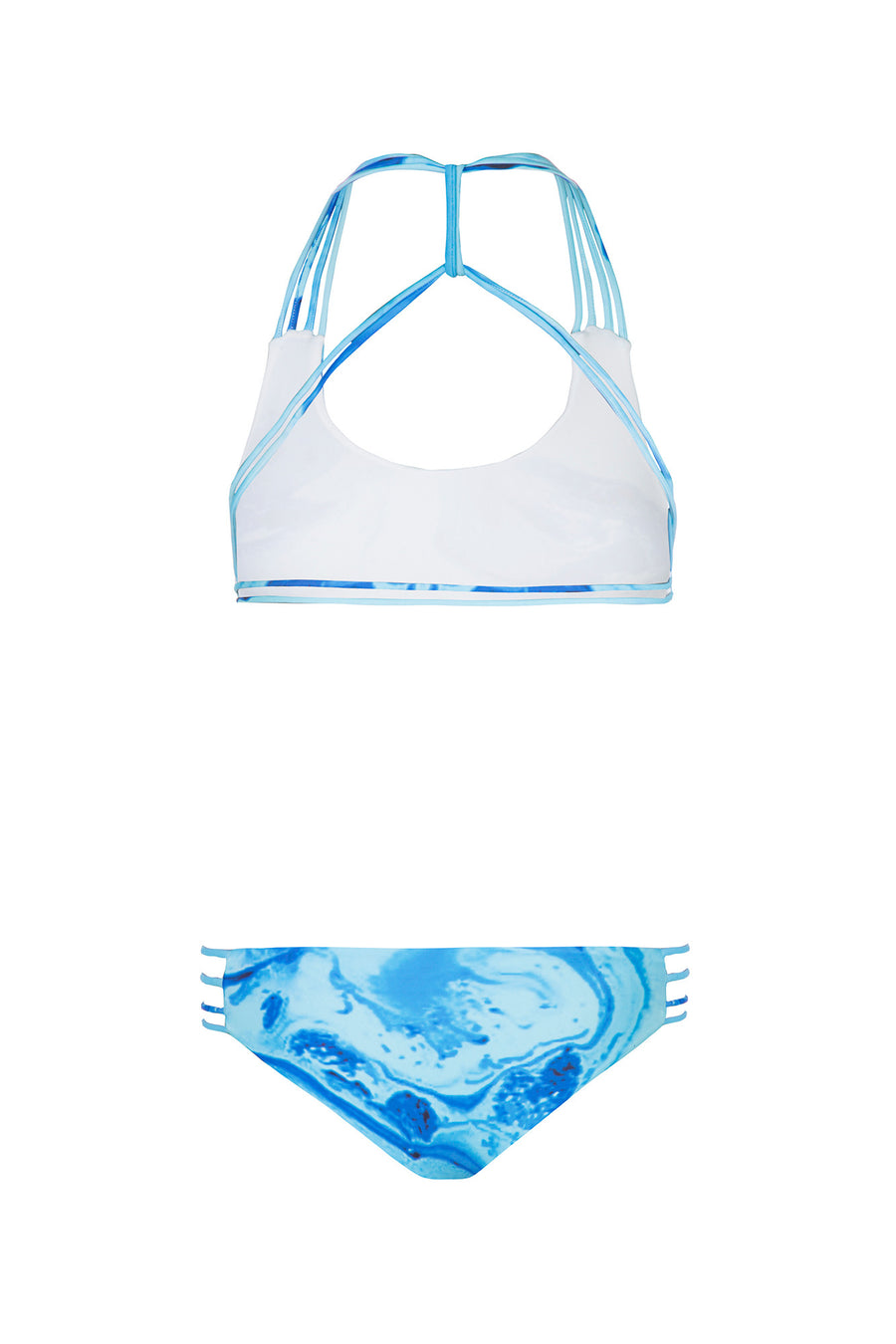 """Tyra"" T-Back Reversible Bikini [Ocean Rush / Indian Summer White]"