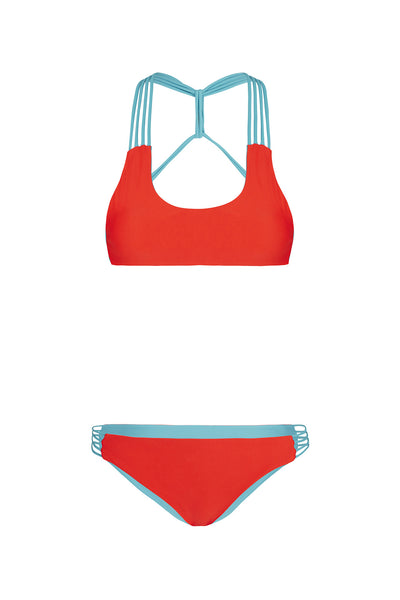 """Tyra"" T-Back Reversible Bikini [Waikiki Watermelon / Bahama Blue]"