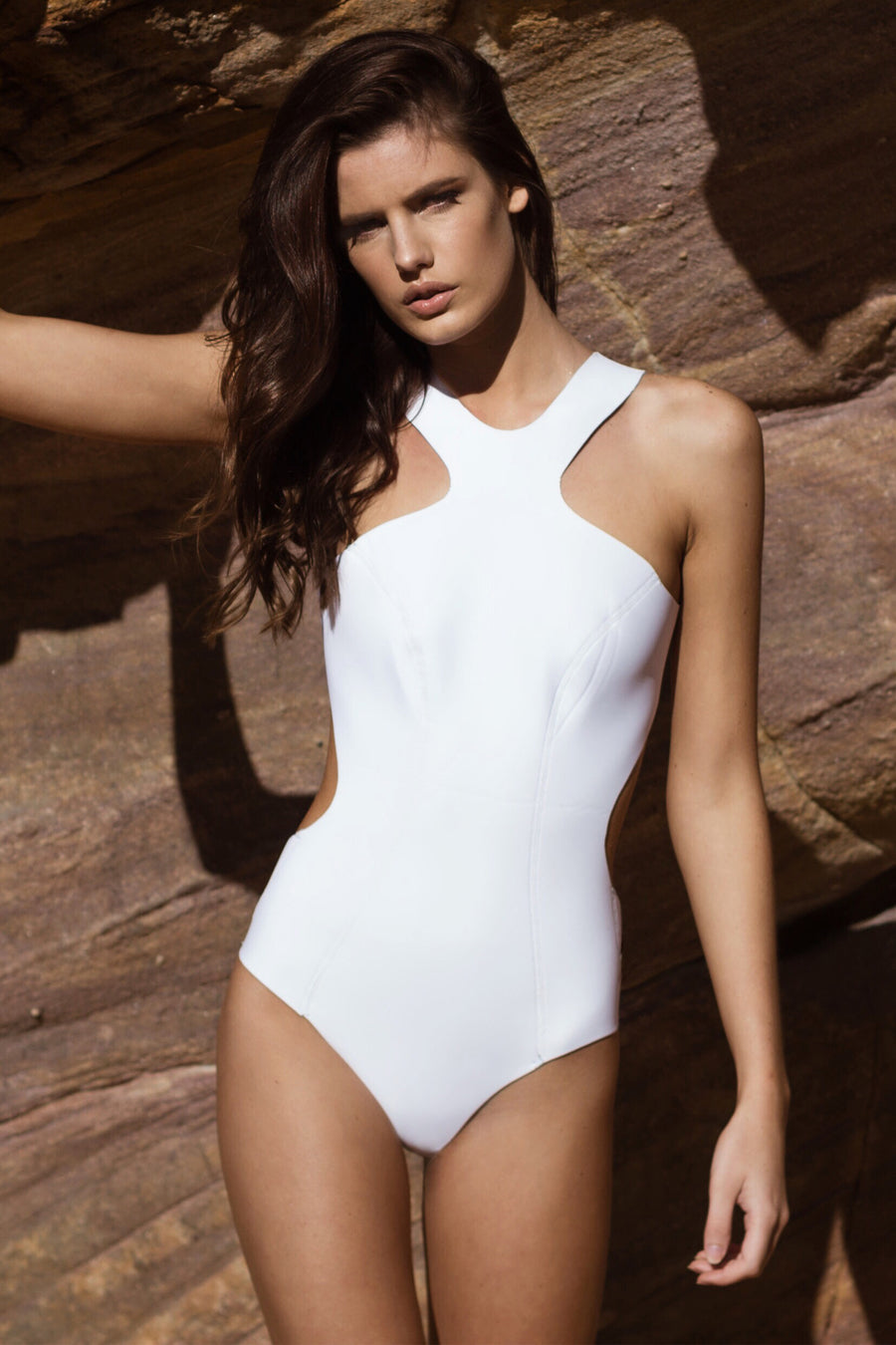 """Alessandra"" Neoprene One Piece [Ocean Rush/Indian Summer White]"