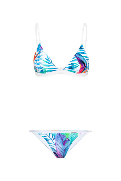 """Lauren"" Tri Bikini [Birds of Paradise / White]"
