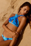 """Heidi"" Cross Over Reversible Bikini [Ocean Rush / Indian Summer White]"
