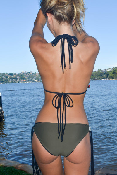 """Isabella"" Tie Up Reversible Bikini [Barcelona Black / Canadian Khaki]"