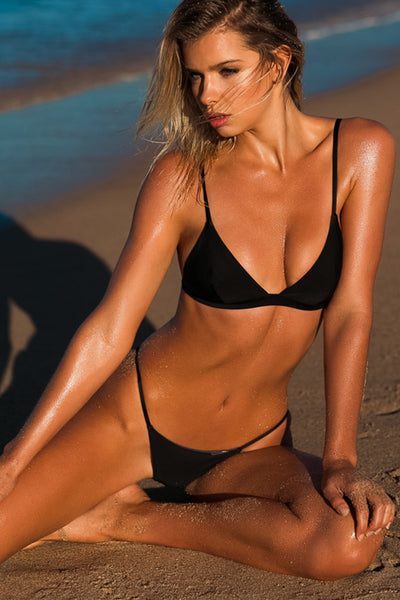 """Lauren"" Tri Bikini [New York Nights / Gunmetal Grey]"