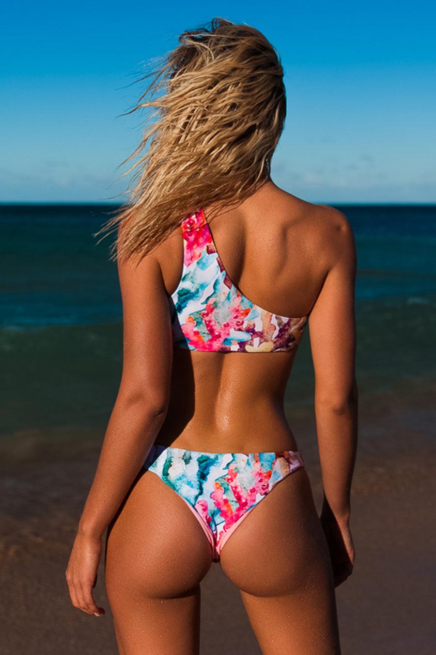 """Louisa"" Lycra Bikini in [Barrier Reef / Real Pink]"