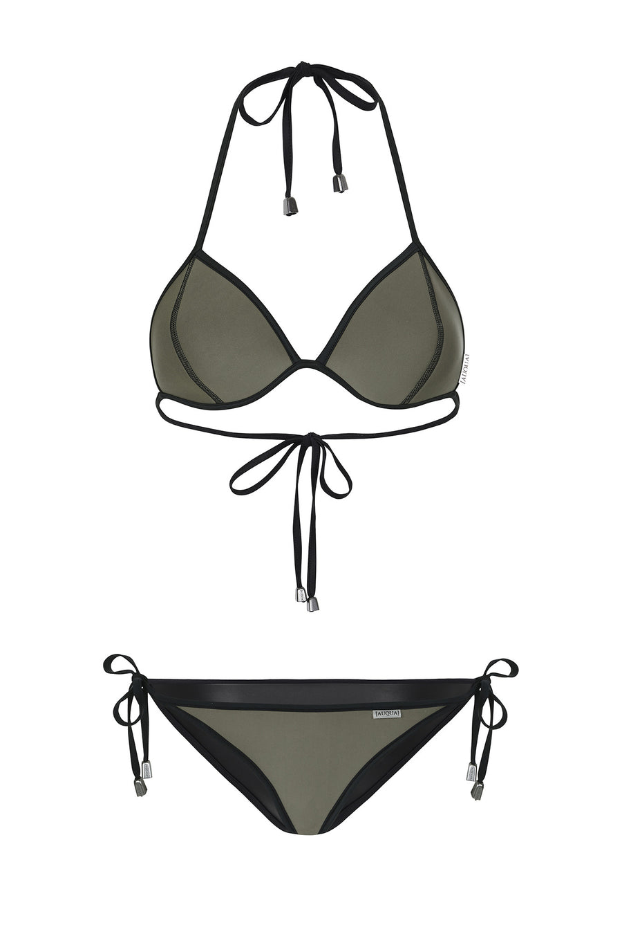 "WAREHOUSE SALE - ""Candice"" Triangle Reversible Bikini [Coco Noir / Canadian Khaki]"