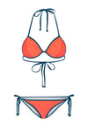 """Candice"" Triangle Reversible Bikini [Oklahoma Orange / Grey Goose]"
