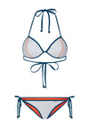 "WAREHOUSE SALE - ""Candice"" Triangle Reversible Bikini [Oklahoma Orange / Grey Goose]"