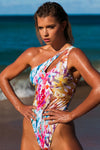 """Victoria"" Lycra 1 PC in [Barrier Reef / Real Pink]"