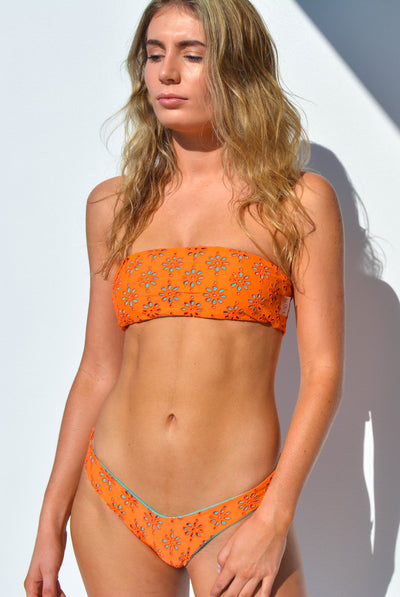 """CHARLOTTE"" BANDEAU BIKINI TOP IN [VITAMIN C / MALDIVIAN WATERS]"