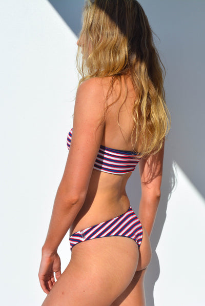 """CHARLOTTE"" BANDEAU BIKINI SET IN [NAUTICAL STRIPE / OCEAN DEEP]"