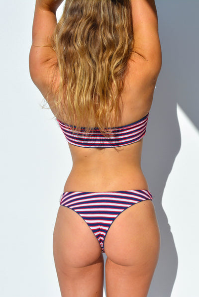 """CHARLOTTE"" BANDEAU BIKINI TOP IN [NAUTICAL STRIPE / OCEAN DEEP]"