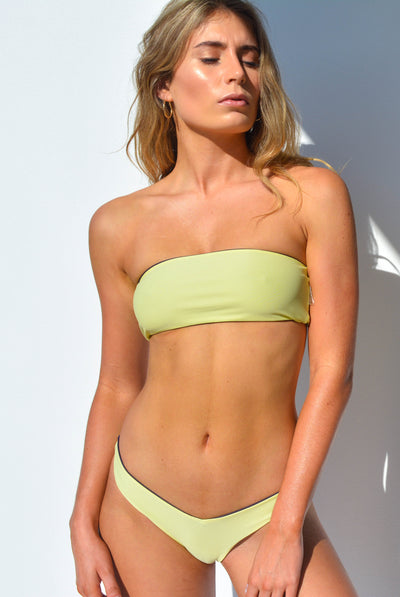 """CHARLOTTE"" BANDEAU BIKINI SET IN [GRAPE VINE / LEMON DROP]"