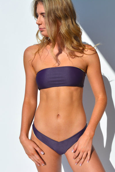 """CHARLOTTE"" BANDEAU BIKINI TOP IN [GRAPE VINE / LEMON DROP]"
