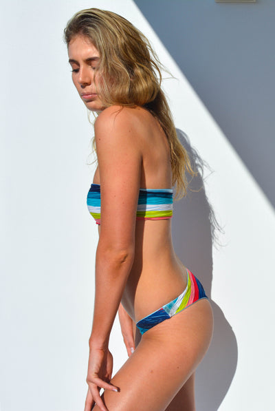 """CHARLOTTE"" BIKINI BOTTOMS IN [RAINBOW RAYS/ SKYLAR BLUE]"