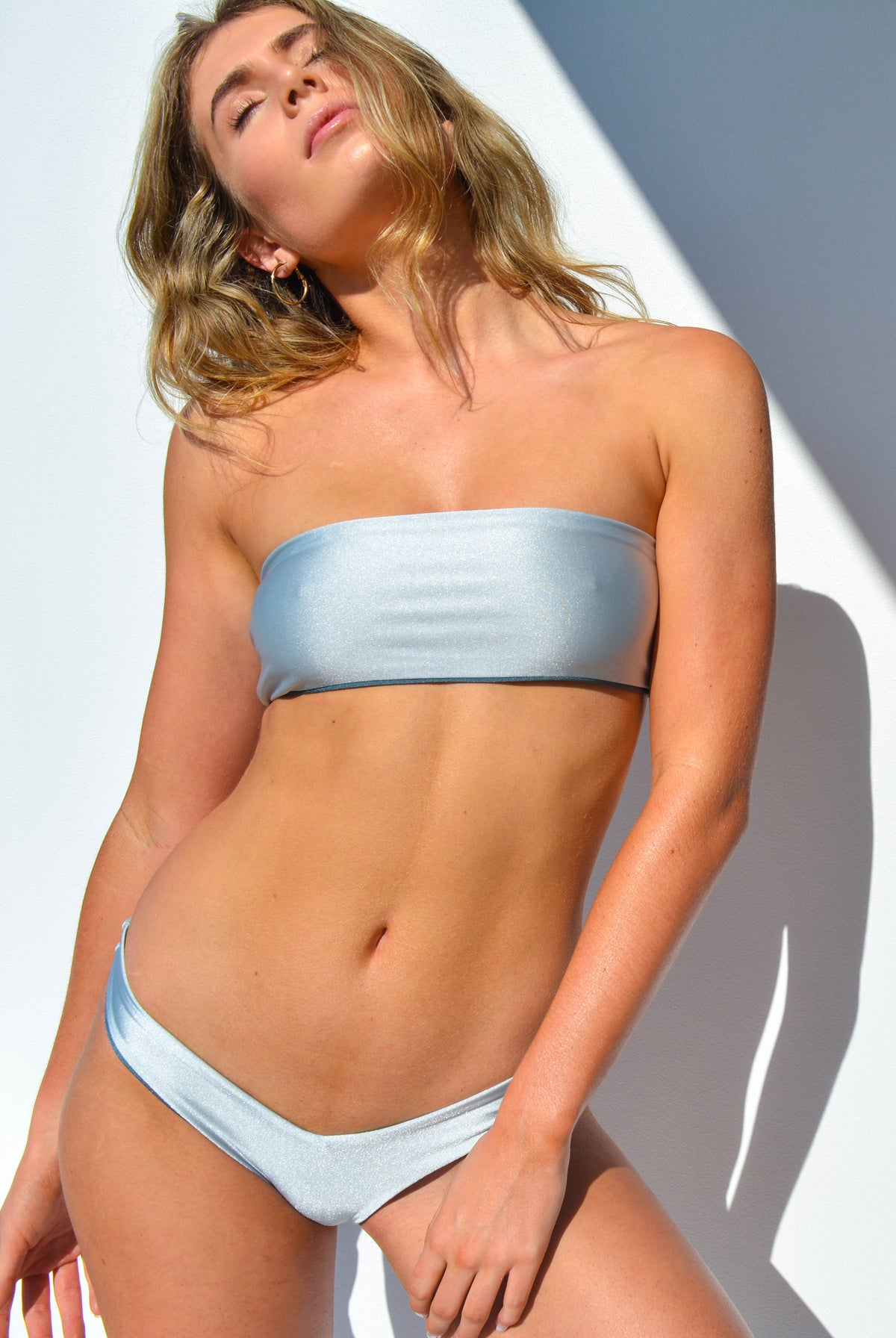 """CHARLOTTE"" BANDEAU BIKINI SET IN [UNICORNS HORN / SILVER DUST]"
