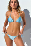 """JO"" TRIANGLE BIKINI TOP IN [RAINBOW RAYS/ SKYLAR BLUE]"