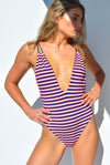 """BRIDGET"" LYCRA 1 PC IN [NAUTICAL STRIPE / OCEAN DEEP]"