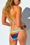"""JO"" ADJUSTABLE BIKINI BOTTOMS IN [RAINBOW RAYS/ SKYLAR BLUE]"