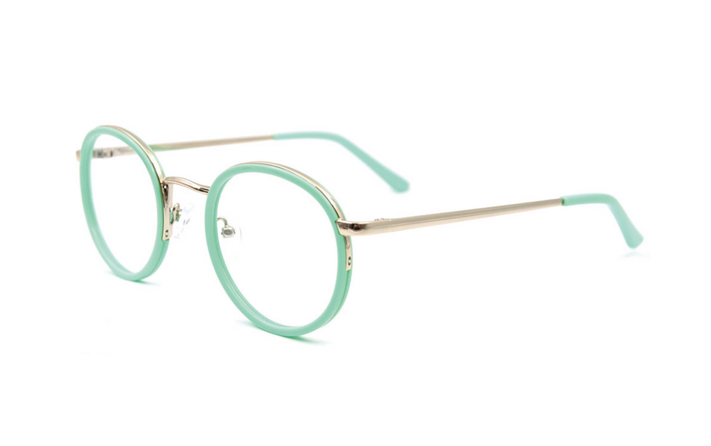 fashionable green round glasses