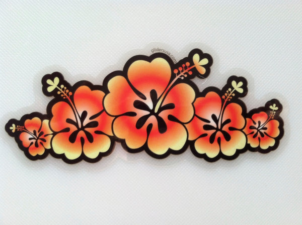 5 Flower Hawaiian Hibiscus Vibrant Sticker Decal