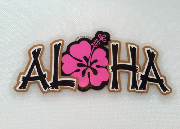 Aloha with Hawaiian Hibiscus Flower Pink, Small