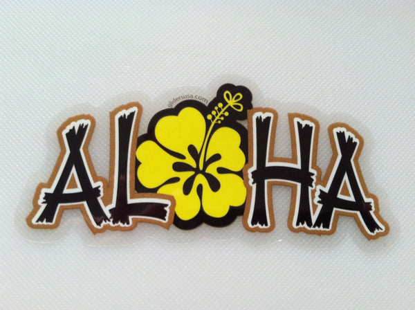 Aloha with Hawaiian Hibiscus Decal Yellow Small