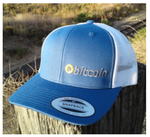 Bitcoin EMBROIDERED BLUE/WHITE TRUCKER HAT
