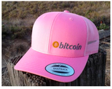 Bitcoin Embroidered Pink Trucker Hat