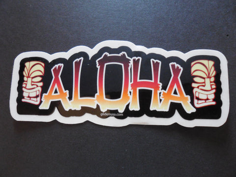 Hawaiian Aloha with Tiki God Surfing Sticker Decal