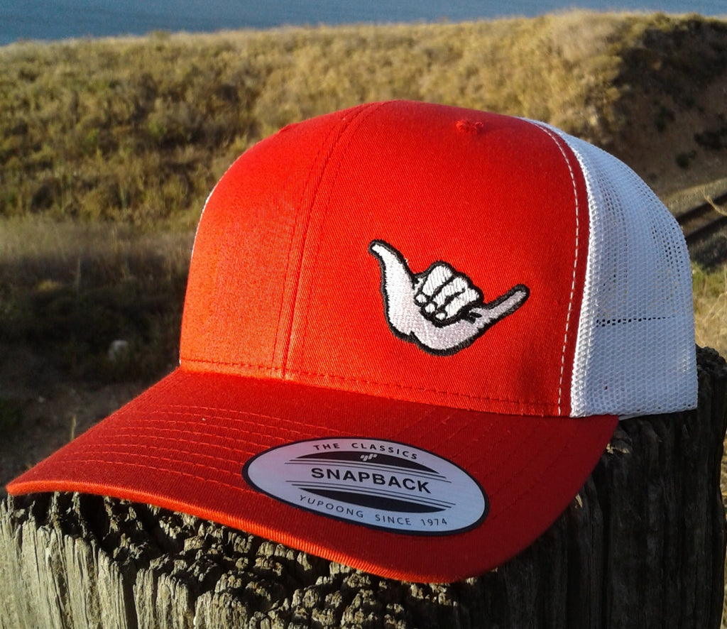 Hang Loose Shaka Embroidered Trucker Hat Red   White – Gliders USA ... 4eb9763ba3d