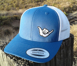 Hang Loose Shaka Embroidered Trucker Hat Blue / White
