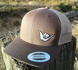 Hang Loose Shaka Embroidered Trucker Hat Brown / Tan