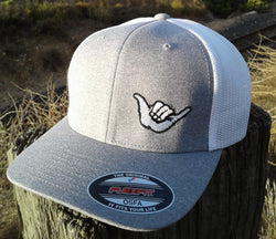 Hang Loose Shaka Logo Grey / White Fitted Trucker Hat