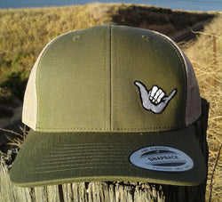 Hang Loose Shaka Embroidered Trucker Hat Olive Green / Tan