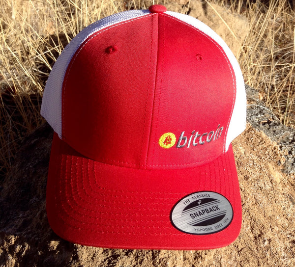 Bitcoin Embroidered Red / White Mesh Trucker Hat