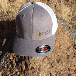 "Bitcoin Embroidered Grey / White ""FITTED"" Trucker Hat"