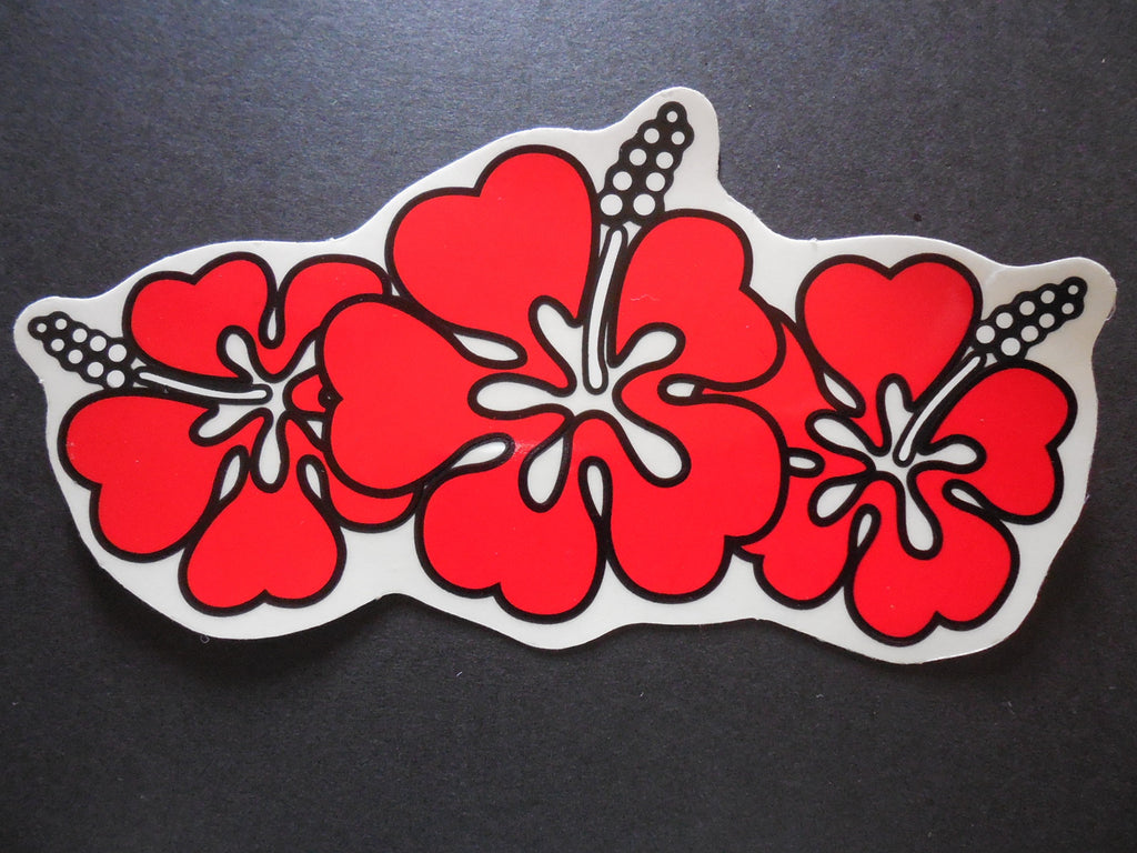 Triple hibiscus hawaiian flower stickers decals gliders usa triple hawaiian hibiscus large sticker decal red color red flower izmirmasajfo