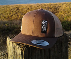 Tiki God Embroidered Brown / Tan Trucker Hat.