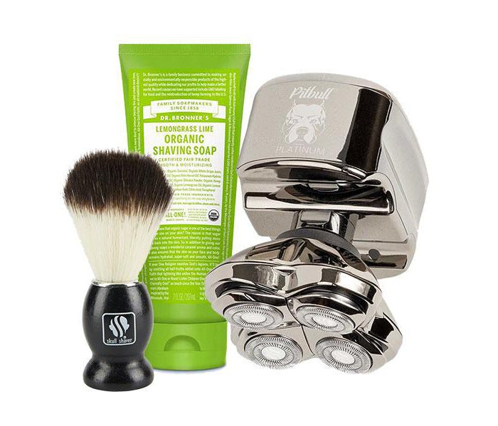 PitBull Platinum Shaver + Shaving Soap + Shaving Brush
