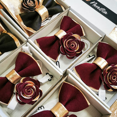TOP WEDDING COLOR TRENDS FOR THIS 2020 WEDDING SEASON burgundy color rose gold mens groomsmen bow tie set gift idea