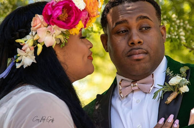 Look how nice did our Nevestica customers incorporate their rose gold and blush pink bow tie sets in their Caribbean color them