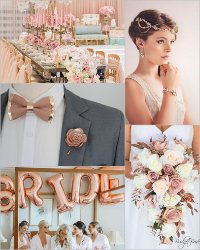 ROSE GOLD COPPER WEDDING ACCENTS THEME COLOR BOARD