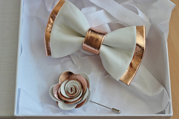 white and rose gold leather bow tie lapel flower set for men, prom, wedding, nevestica