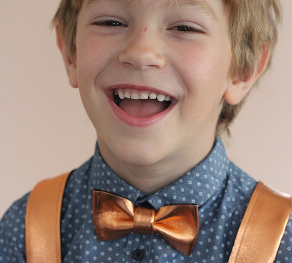 boys rose gold, copper bow tie and suspender set by Nevestica design