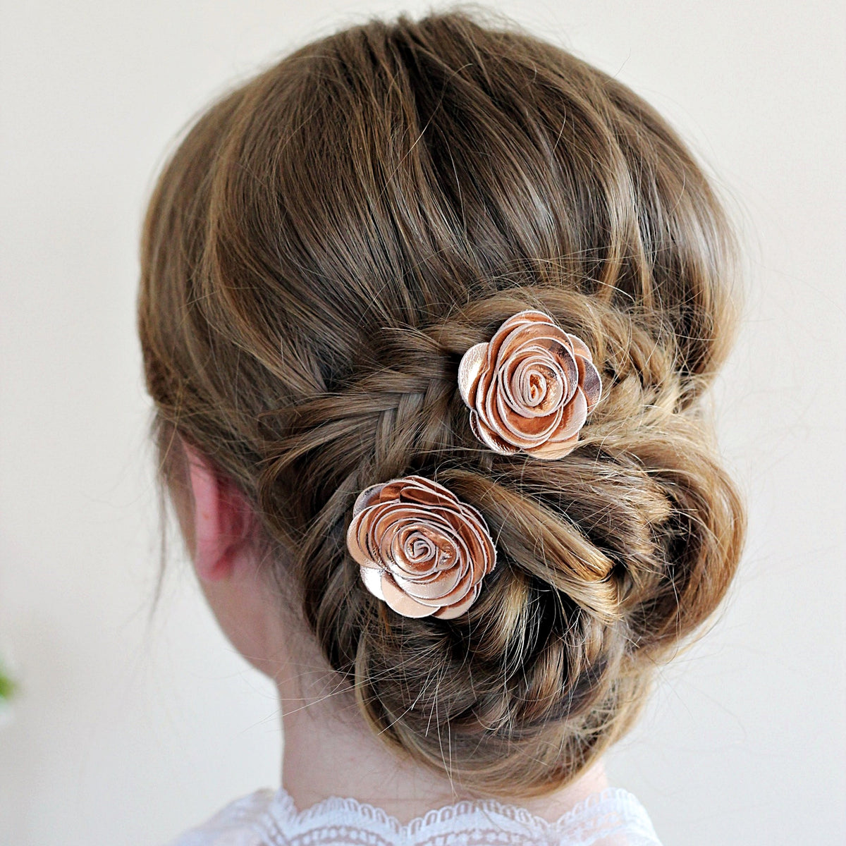 rose gold genuine leather hair rose flower bobby pin for bride, bridesmaids, copper wedding gift set