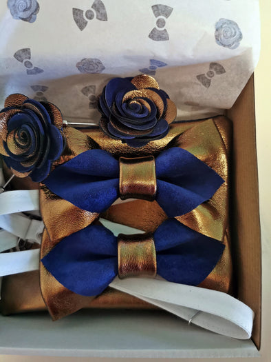 pointed bronze mens bow tie bowtie groomsmen grooms groomsman wedding gifts set, boutonniere, lapel flower, navy blue, roayal blue