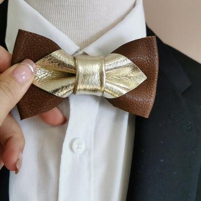 champagne gold and brown cowhide genuine leather bow tie