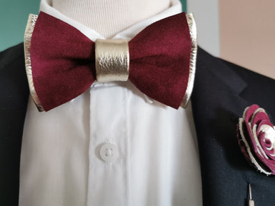 Champagne and burgundy maroon leather bow tie