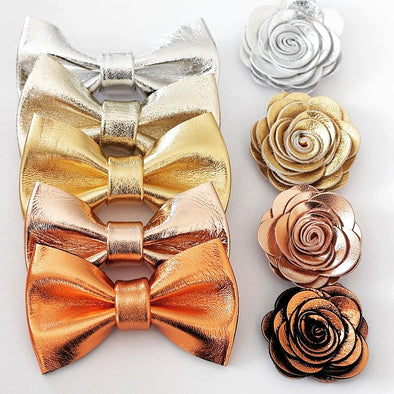 metallic leather sequin bow tie formal mens set, lapel boutonniere flower, rose gold bow tie mens set, gold bow tie set for men, silver formal bow tie set for men, groomsmen attire, gift, copper, bronze, boho