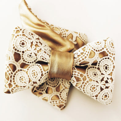 Ivory lace and gold bow tie set